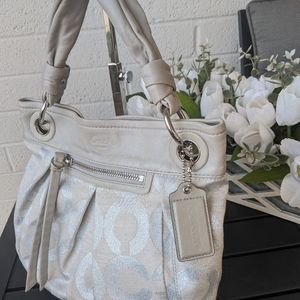 Coach Silver Gray Canvas Purse 13511
